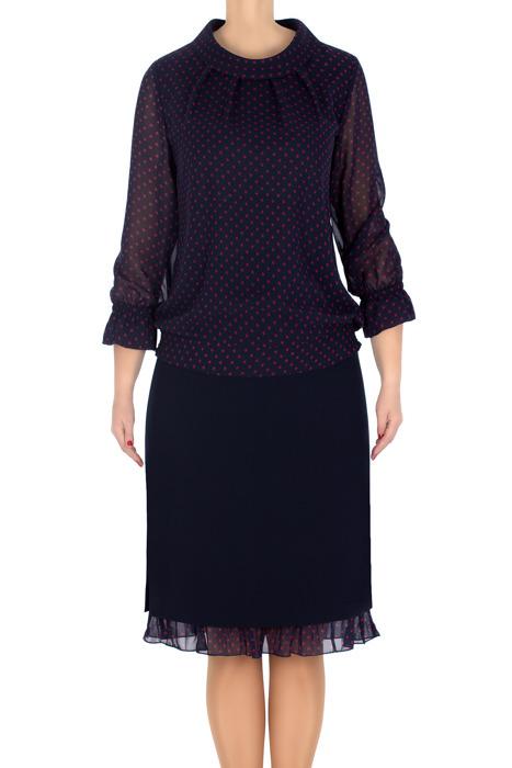 Elegancki komplet damski bluzka i spódnica granatowy 3202