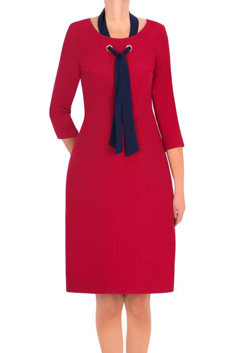 Klasyczna sukienka 2874 czerwona z granatową tasiemką