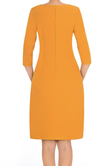 Klasyczna sukienka 2875 żółta z granatową tasiemką