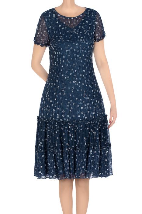 Klasyczna sukienka damska Carla jeansowa z białe kwiatki 3308