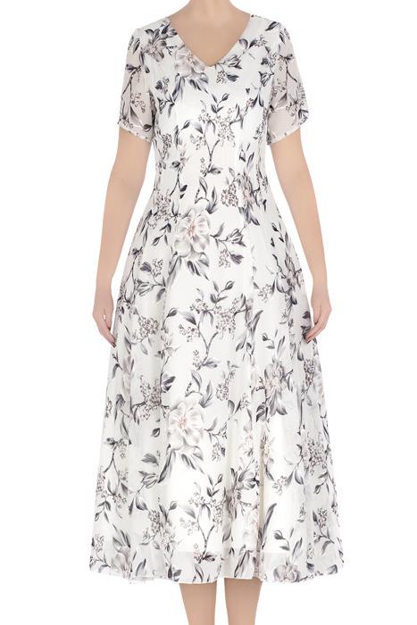 Klasyczna sukienka damska Daiana biała szare kwiaty 3310