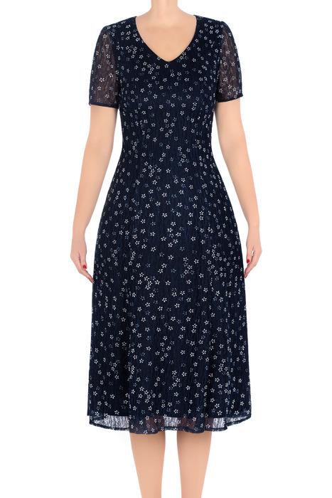 Klasyczna sukienka damska Irys granatowa w ecru kwiatki 3217