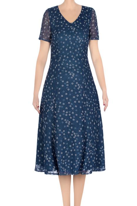 Klasyczna sukienka damska Irys morska w ecru kwiatki 3315