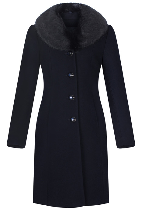 Klasyczny płaszcz damski zimowy Joanna granatowy z wełną
