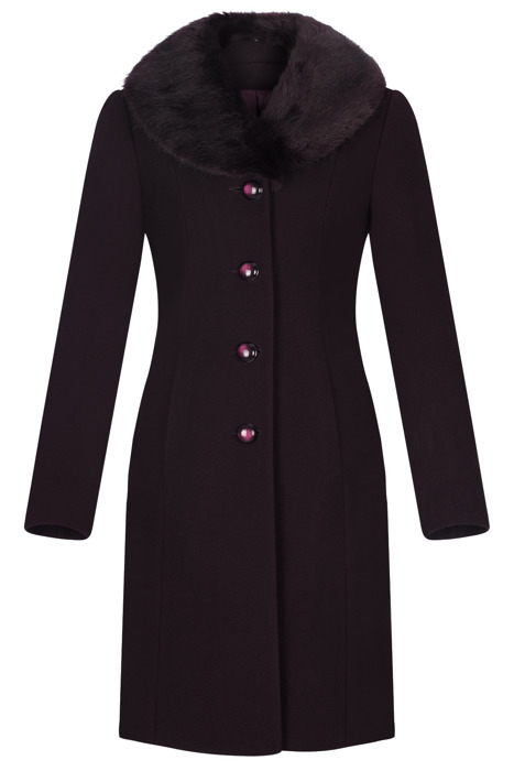 Klasyczny płaszcz damski zimowy Joanna śliwkowy z wełną