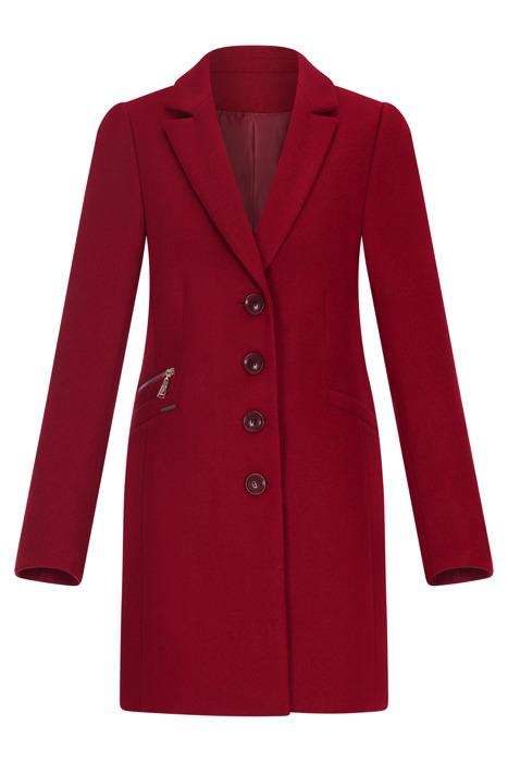 Klasyczny zimowy płaszcz damski Huna Jasmin czerwony