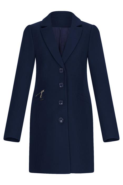Klasyczny zimowy płaszcz damski Huna Jasmin granatowy