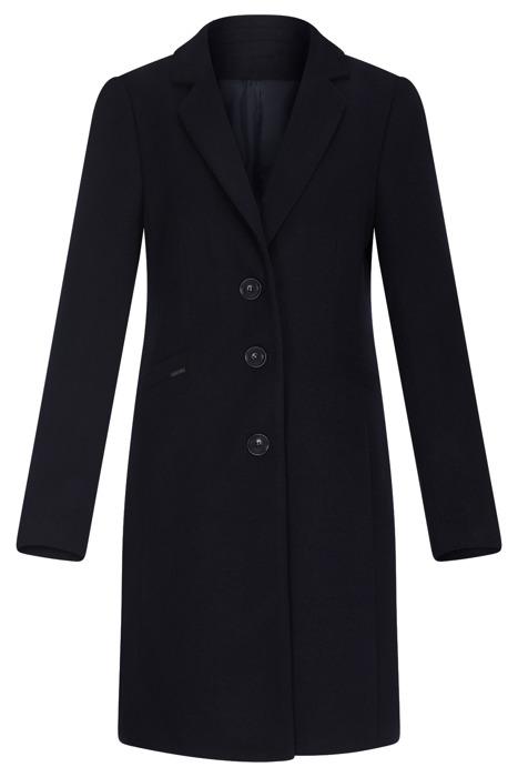 Klasyczny zimowy płaszcz damski Huna Nela granatowy