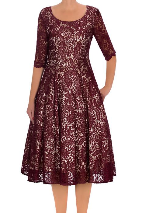 Koronkowa sukienka Cller bordowa na krótki rękaw