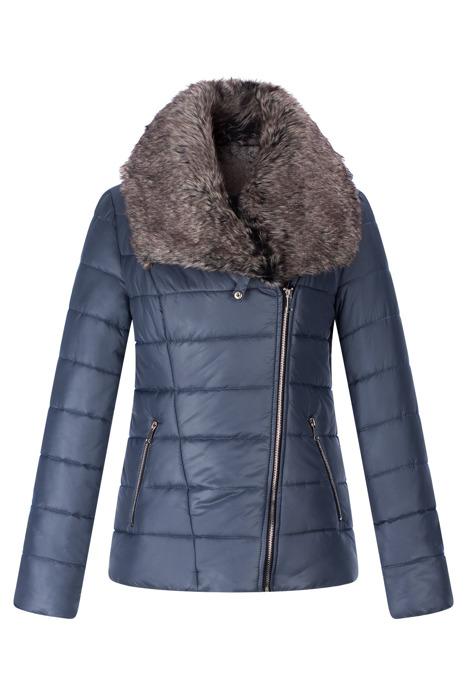 Krótka zimowa kurtka AnMar jeansowa z kapturem i futerkiem