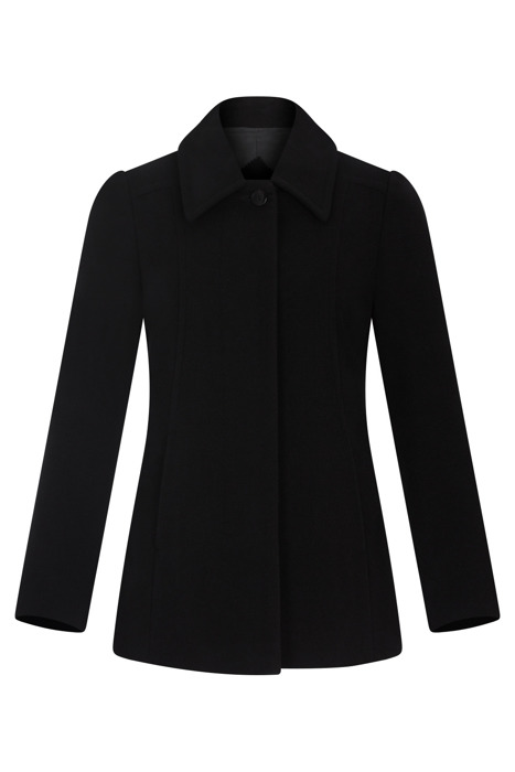 Krótka kurtka zimowa Caro Fashion 0108 czarna z kołnierzykiem wełna