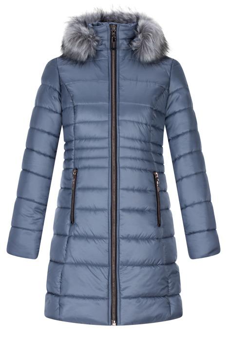Kurtka zimowa pikowana Ania III jeans z kapturem i futerkiem