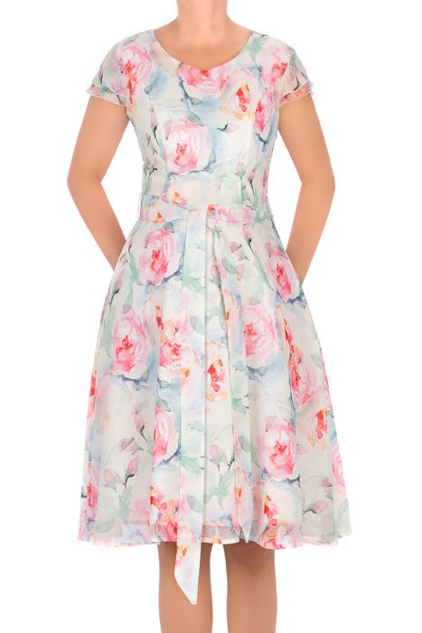 Letnia sukienka Rene Marta wielokolorowa w kwiaty z paskiem