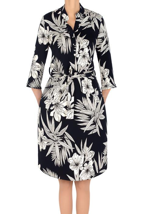 Modna sukienka Jaśmina granatowa w beżowe kwiaty 3191