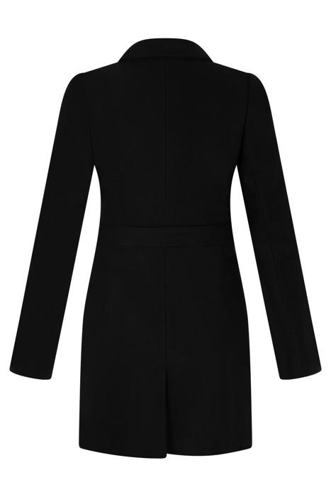 Płaszcz Huna Joanna czarny wiązany z paskiem i guzikami
