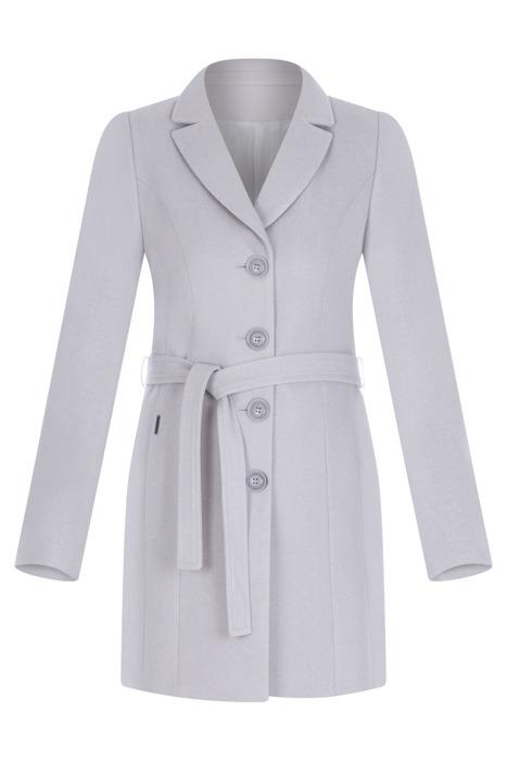 Płaszcz Huna Joanna jasny szary wiązany z paskiem i guzikami