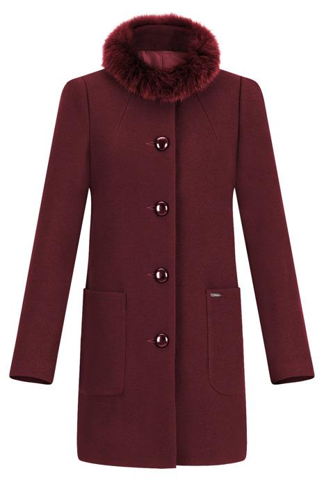 Płaszcz damski zimowy Blanca prosty fason bordowy z wełną