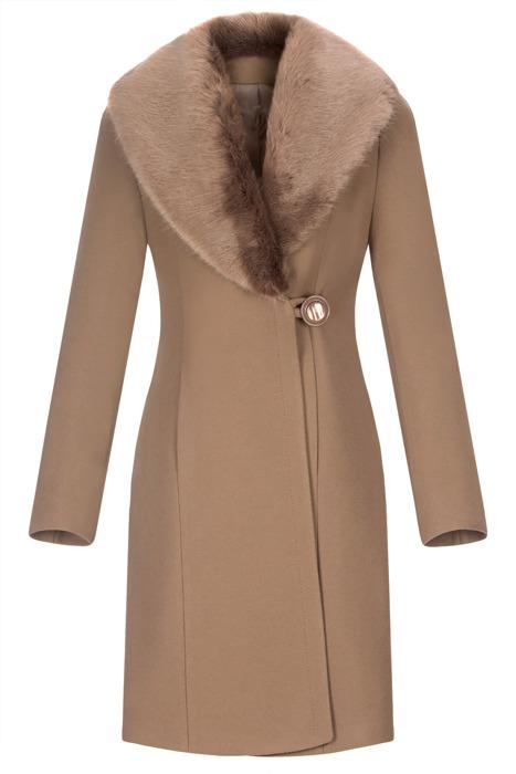 Płaszcz damski zimowy Szalowy camel z wełną