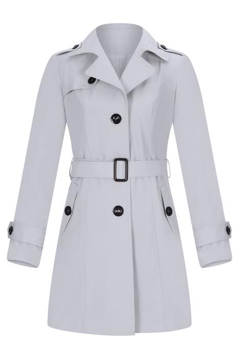 Płaszcz prochowiec AnMar szary jednorzędowy na guziki z paskiem