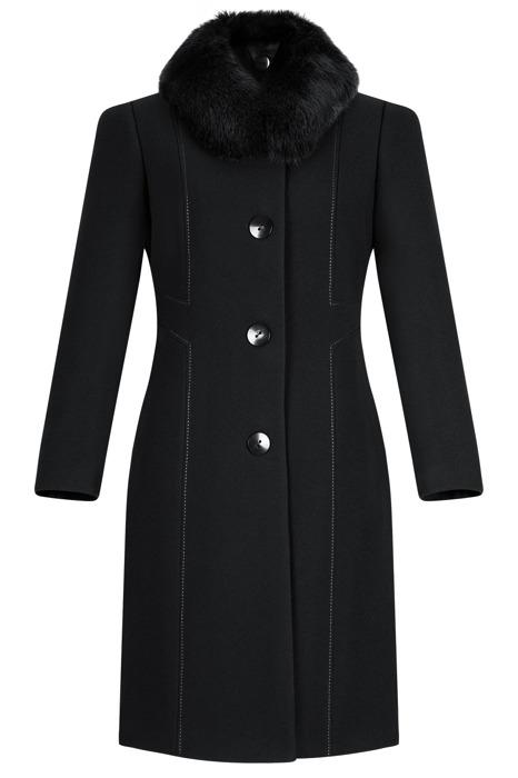 Płaszcz zimowy Diana czarny z lisem naturalnym - odpinanym