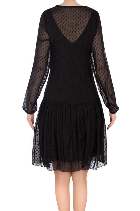 Stylowa sukienka Judyta I czarna w kropki 3193