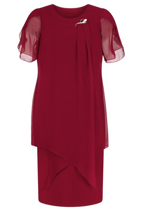 Sukienka Andrea szyfonowa bordowa tuszująca