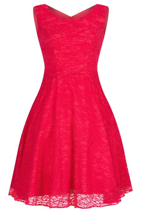 Sukienka Cller koronkowa malinowa czerwień rozkloszowana