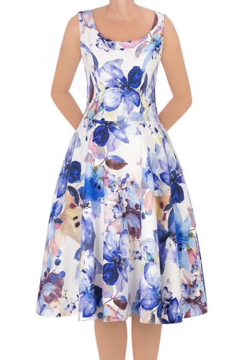 Sukienka Cller rozkloszowania w niebieskie kwiaty