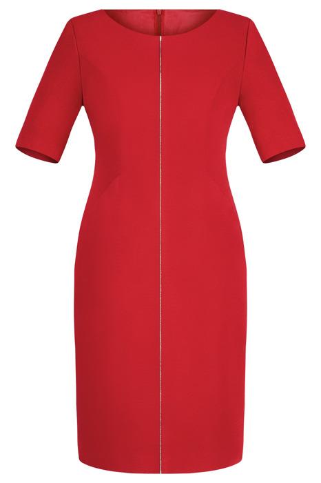 Sukienka Dagon 2077 czerwona  z ozdobną imitacją suwaka