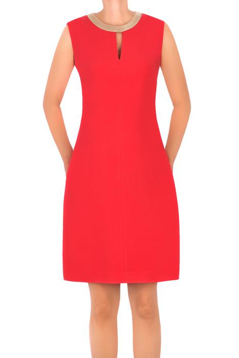 Sukienka Dagon 2299 czerwona z ozdobną obwódką przy szyi