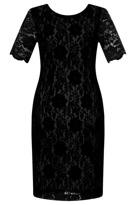 Sukienka Dagon 2467 czarna koronkowa w kwiaty