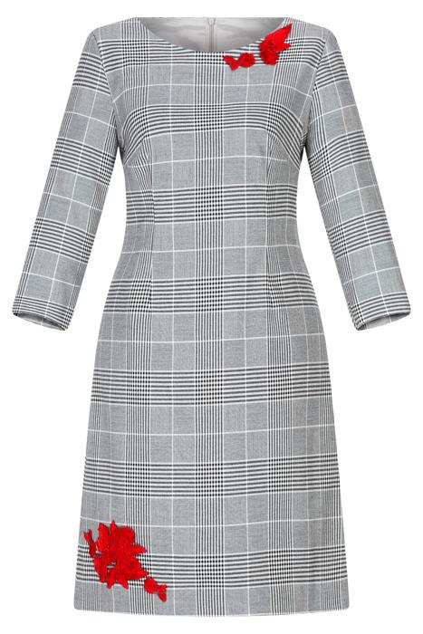 Sukienka Dagon 2505 czarno-biała w kratkę