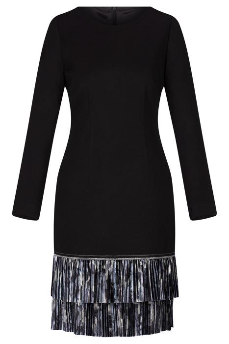 Sukienka Dagon 2528 czarna z falbanką w mazaje