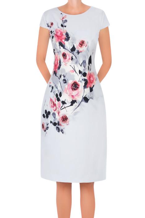 Sukienka Dagon 2654 szara w kwiaty