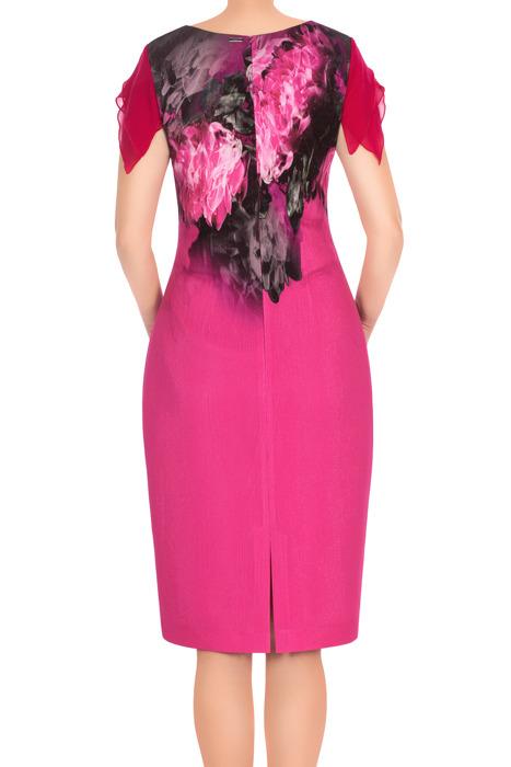 Sukienka Dagon 2698 różowa z kwiatem 3D