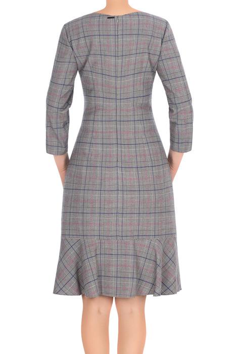 Sukienka Dagon 2745 szara w kratkę z falbaną