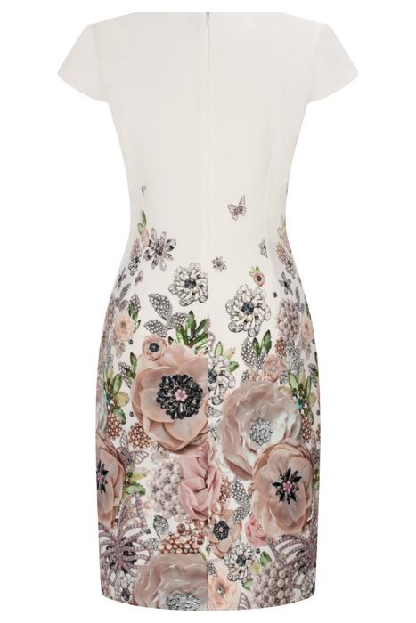 Sukienka Dorota ecru w kolorowe kwiaty