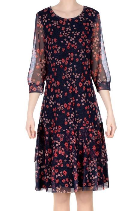 Sukienka Dorota granatowy w różowe kwiaty