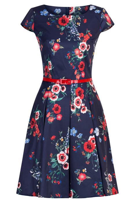 Sukienka Gotta granatowa w kolorowe kwiaty - maki z paskiem w talii