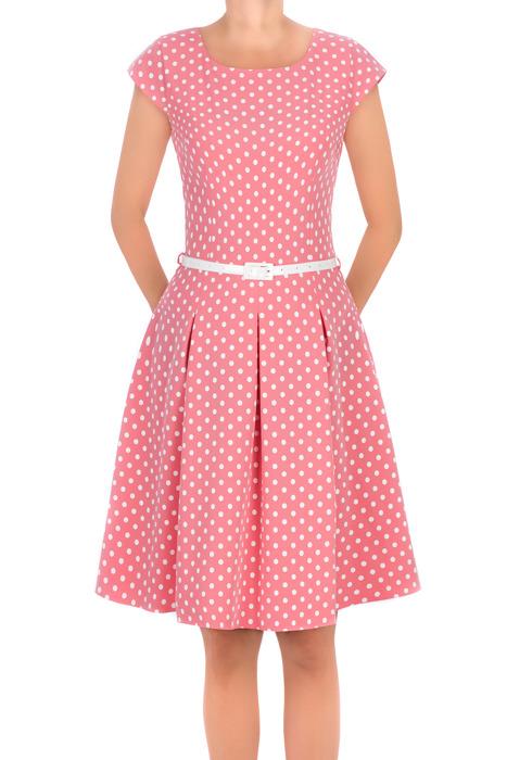 Sukienka Gotta różowa w kropki z paskiem w talii