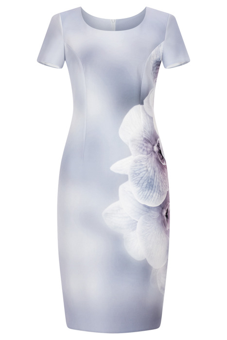 Sukienka Kolor szara w kwiaty prosta