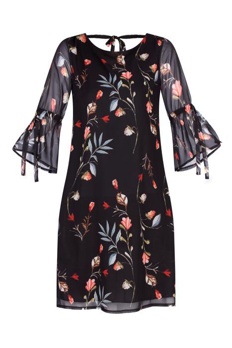 Sukienka Marisa trapezowa czarna w kwiaty