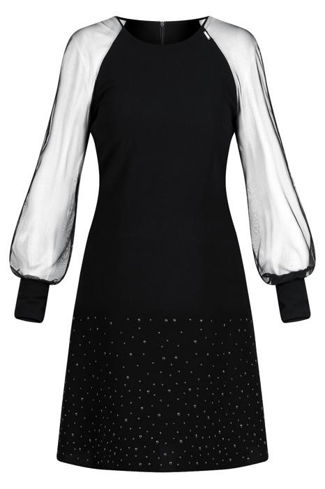 Sukienka Trynite K-386 czarna trapezowa z czarnymi perełkami