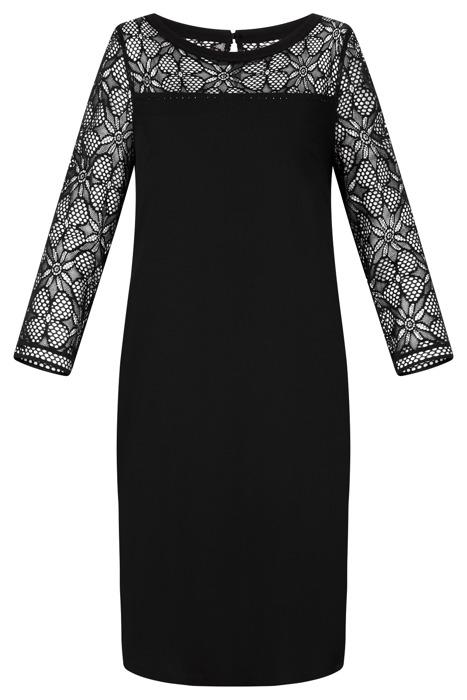 Sukienka Trynite TK-99 czarna prosta z koronką