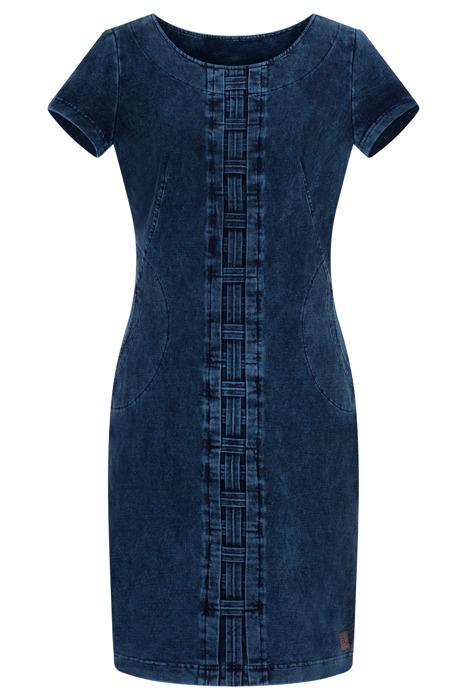 Sukienka dzianinowa Agata J510 ciemny jeans z bawełną