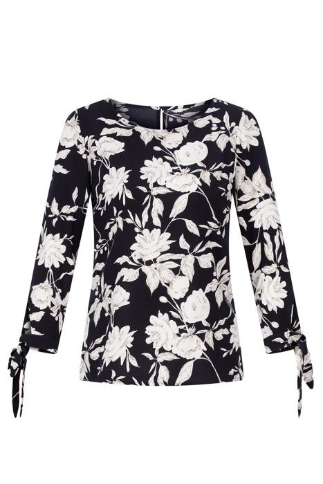Wizytowa bluzka damska ciemny granat w kwiaty z wiązanymi rękawami