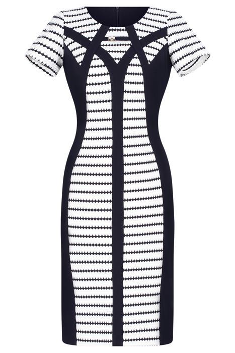 Wizytowa sukienka Andrea granatowo-biała w geometryczne paski
