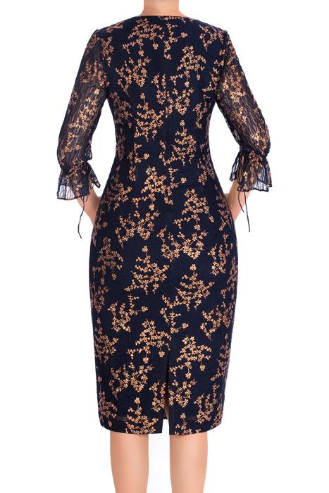 Wizytowa sukienka damska Enya granatowa w złote kwiaty