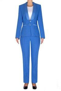Elegancki garnitur damski niebieski żakiet i spodnie 3197