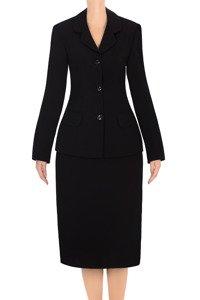 Klasyczny komplet damski Monika Style G1 czarny żakiet i spódnica